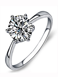 HKTC 18k White Gold Plated Classic 6 Prong Sparkling Solitaire 2ct Cz Diamond Wedding Ring