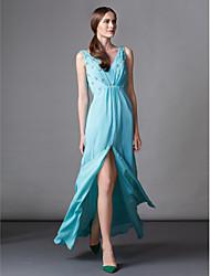 TS Couture Formal Evening Dress - Jade / Lime Green Sheath/Column V-neck Sweep/Brush Train Chiffon