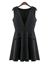 Women's Korea  Casual Inelastic Sleeveless Above Knee Vest Dress (Microfiber)