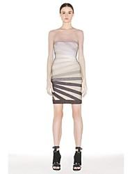 Cocktail Party Dress - Multi-color Petite Sheath/Column Strapless Short/Mini Nylon Taffeta