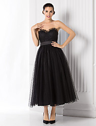 TS Couture Prom Formal Evening Dress - Little Black Dress A-line Princess Sweetheart Tea-length Tulle with Sash / Ribbon