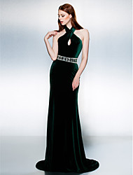 TS Couture® Formal Evening / Black Tie Gala Dress Plus Size / Petite Trumpet / Mermaid Halter Court Train Velvet with Beading / Sash / Ribbon