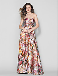 TS Couture Formal Evening Dress - A-line Sweetheart Floor-length Satin Chiffon
