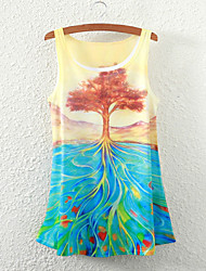 Women's Sleeveless Floral Tree Graphic Printed Vest