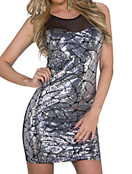 Women's Sequin Mesh Insert Tunic Club Dress