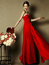 Formal Evening Dress - Burgundy Sheath/Column Sweetheart Floor-length Satin