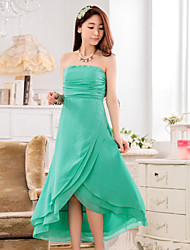 Women's Party Solid A Line Dress , Strapless Maxi Chiffon
