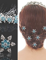 Fashion bule Alloy snowflake Hair pins for Women, Weddding Hair Accessories with Rhinestones for ladies