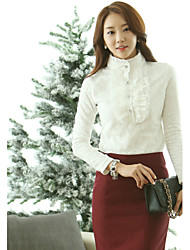 Women's Solid White/Black Shirt , Stand Long Sleeve Lace