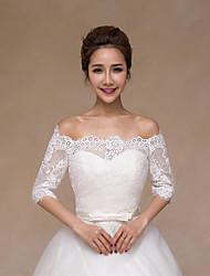 Wedding Wraps Vests Half-Sleeve Lace/Satin Elegant Thin Bride Wraps White