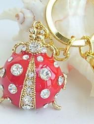 Purse Charming Red Ladybug Key chain With Clear Rhinestone Crystals