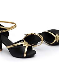 Customizable Women's Dance Shoes Latin / Dance Sneakers Satin Cuban Heel Black / Blue / Brown / Red
