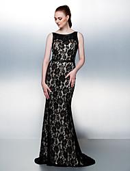 robe de retour - trompette noir / sirène de balayage scoop / train brosse dentelle