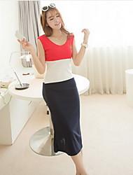 Women's Color Block Multi-color Dress , Casual V Neck Sleeveless