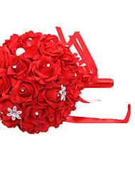 """Fleurs de mariage Rond Roses Bouquets Mariage / Le Party / soirée Satin / Mousse / Cristal / Strass 7.87""""(Env.20cm)"""
