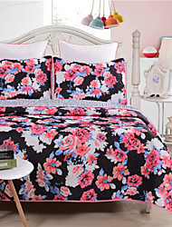 Floral Bed Cover Black Transfer Printed Coverlet Sets 100% Polyester 1pc of quilt with 2pcs of Pillow cases