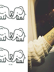2016 New  Painting Waterproof Temporary Elephant Tattoo Paste,3PCS