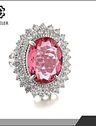 18K White Gold Plated Pink Big Zircon Stone Rings For Women Engagement Jewelry