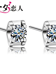 925 Sterling Silver Earrings with Diamond Bright Lovely Earrings Sterling Silver Earrings Men in Japan and South Korea