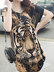 Milan vrouwen casual / schattige round korte mouw topjes& blouses (chiffon)