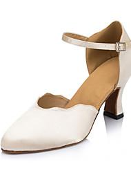 Non Customizable Women's Dance Shoes Latin Flocking Low Heel Ivory
