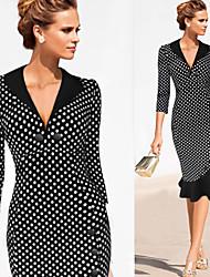 Robes ( Coton/Polyester ) Informel/Soirée/Travail Col V à Manche 3/4 pour Femme