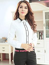 Women's Solid White Shirt , Work V Neck Long Sleeve