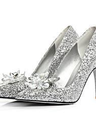 Chaussures Femme - Mariage / Habillé - Argent - Talon Aiguille - Talons / Bout Pointu - Plates - Paillette