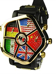 Unisex  Flag Dial Large Dial Five Time Zone Quartz Wrist Watch (Assorted Colors)