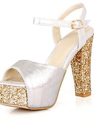 Sandalen-Büro Kleid Party & Festivität-PU-Blockabsatz-Club-Schuhe-Rot Silber Gold