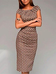 vestido vintage de lunares inelástica sexy hasta la rodilla de las mujeres (mezclas de algodón)