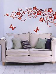 oscura pared de la flor roja del arte zooyoo1702 salón etiquetas de la pared de bricolaje pared removible etiqueta dormitorio