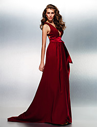 TS Couture Prom Formal Evening Dress - Beautiful Back A-line V-neck Sweep / Brush Train Stretch Satin with Sash / Ribbon