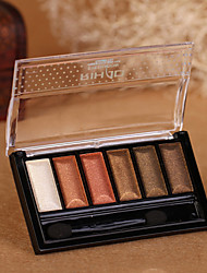6 Paleta de Sombras de Ojos Mate / Brillo Paleta de sombra de ojos Polvo Normal Maquillaje Smokey