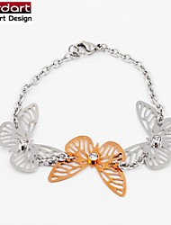 316L Stainless Steel Chain Bracelet with CZ Stones Set  IP Rose Gold Butterfly Charming for Women