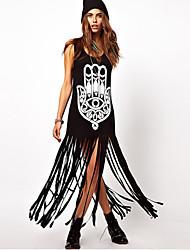 Robes ( Coton ) Informel/Imprimé Rond à Sans manche pour Femme