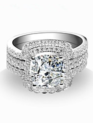 Gorgeous Design 7mm 2CT Engagement Ring Cushion Sterling Silver Jewelry Set 3 Rings in One Two Wedding Bands Rings Set