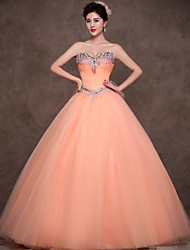 Formal Evening Dress Ball Gown Sweetheart Floor-length Satin / Tulle / Polyester with Crystal Detailing / Ruffles / Criss Cross
