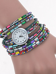 Women's Round Dial Case Beads Watch Brand Fashion Quartz Watch(More Color Available)