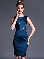 Women's Casual/Work Micro-elastic Elegant Sleeveless Above Knee Dress (Polyester)