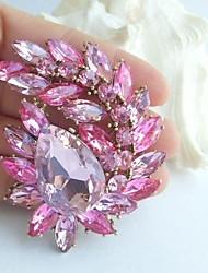 Women Accessories Art Deco Gold-tone Pink Rhinestone Crystal Brooch Bouquet Flower Brooch Women Jewelry