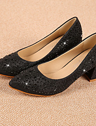 Women's Shoes Chunky Heel Heels / Pointed Toe / Closed Toe Heels Dress Black / Silver / Gold