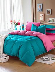 fveja'siv verde 100% algodón de cuatro piezas actividad doble llanura de color rosa brillante y
