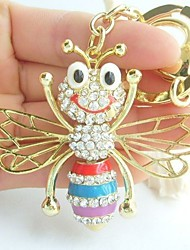 Lovely Honeybee Key Chain Pendant With Clear Rhinestone crystals