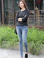 Women's Personality Zipper Decoration Slim Thin Jeans