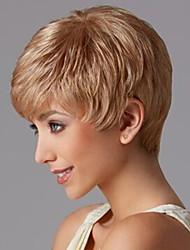 Femme Blonde Raide Fabriqué à la machine Perruque Naturelle