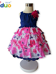 Kids Girl's Floral Print 3D Flower Lace Layered Ruffles Princess Pageant Party Sweet Braces Dress