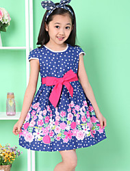 Girls Dot Flower Print Party  Kids ClothesPrincess Dresses (100% Cotton)