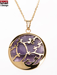 316L Stainless Steel IP Gold Pendant with Amethyst Set with Steel Chain Necklace for Women