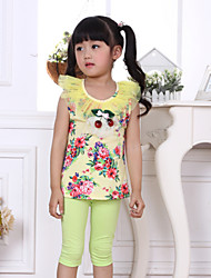 Girl's Spring Summer Good Quality Thin Clothes + Pants Clothing Sets  (Cotton/Wool)